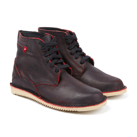 Gando Lace-Up Boot // Black + Red