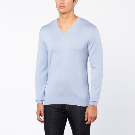 Bresciani // Vee Neck Cashmere Trui // Light Blue