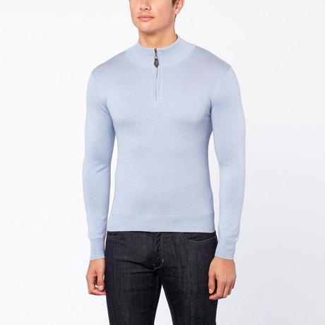 Bresciani // Half Zip Cashmere Trui // Blue