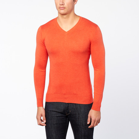 Bresciani // Vee Neck Trui // Orange