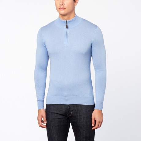 Bresciani // Half Zip Cashmere Trui // Light Blue