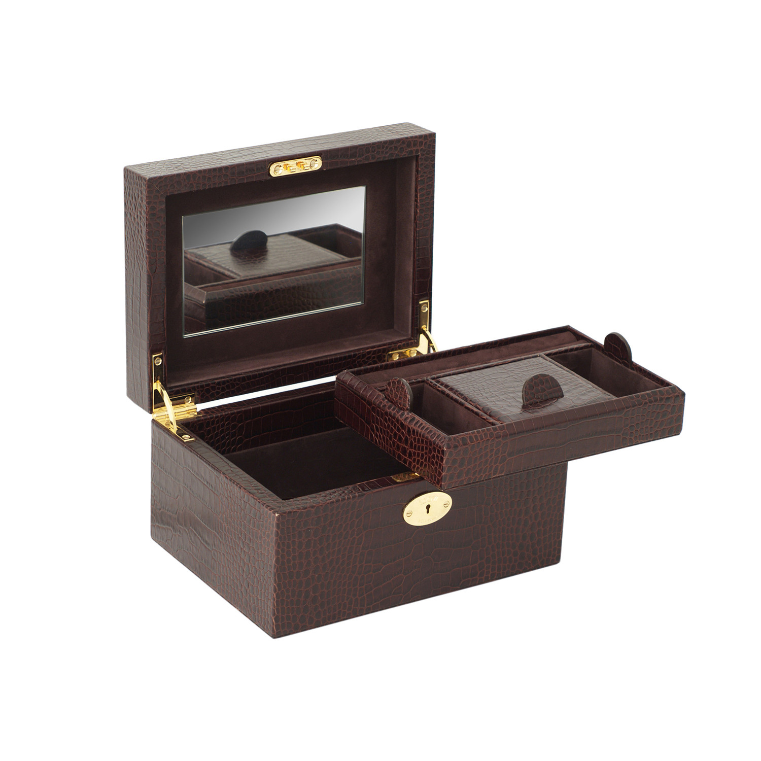 castilla small jewelry box black saffiano wolf 1834
