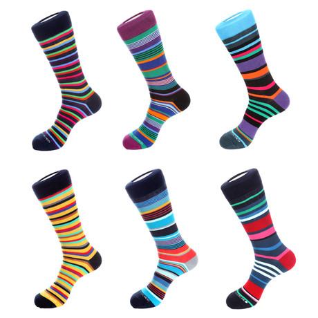 Mid-Calf Sokken // Bonte Stripes // Pack van 6
