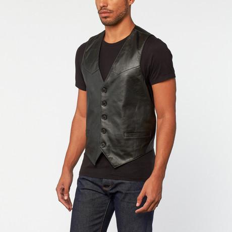 Lamb Leather Vest // Black