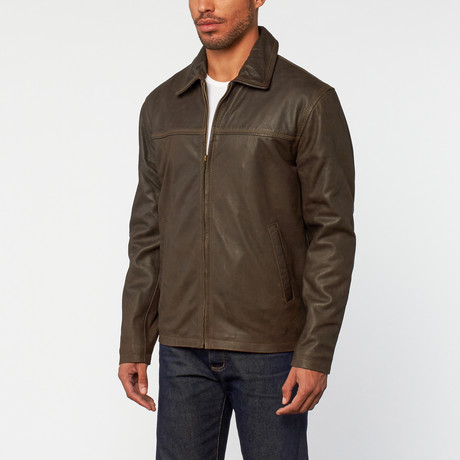Rugged Distressed Leather Jacket // Verontruste Brown