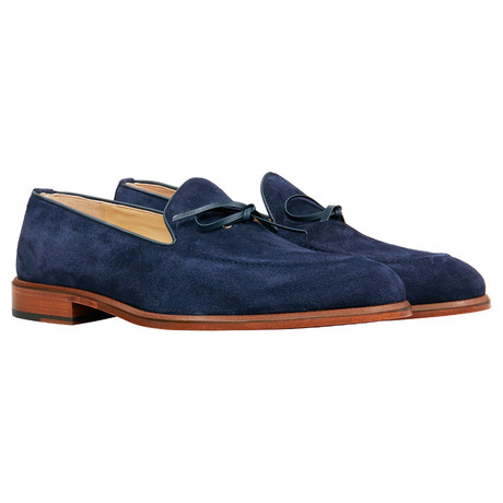 Suede Bow Loafer // Navy