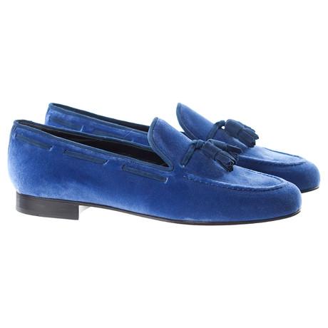 Velvet Tassle Slipper // Royal Blue