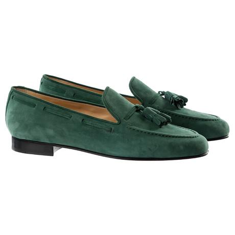Suede Tassle Slipper // Green