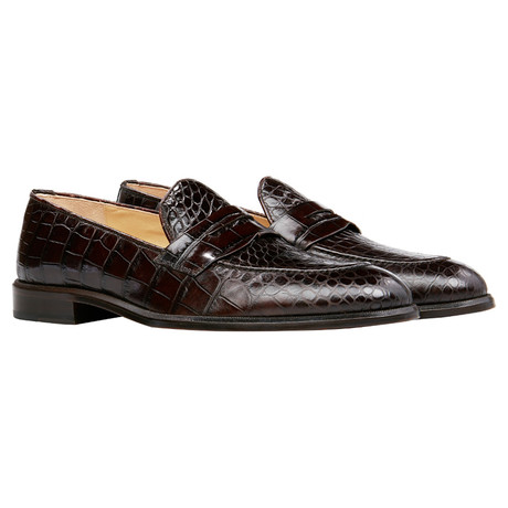 Crocodile Penny Loafer // Brown