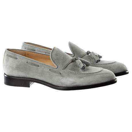 Suede Tassle Loafer // Grey