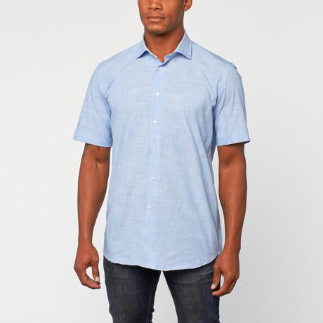 Cotton Slim Fit korte mouw Dress Shirt // Blue