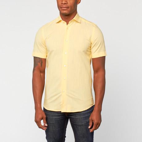Cotton Slim Fit korte mouw Dress Shirt // Yellow
