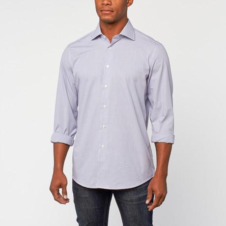Cotton Slim Fit Shirt Dress // Navy Check