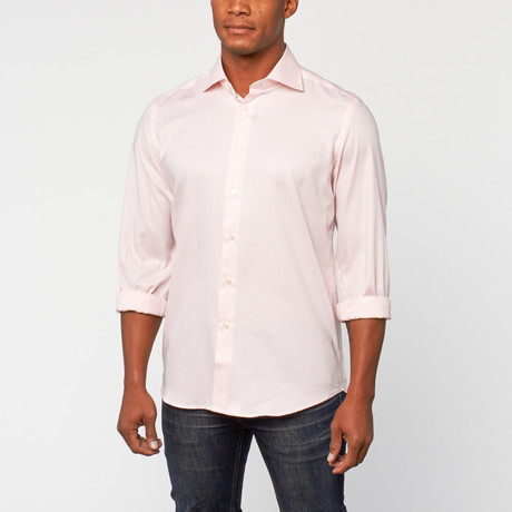 Cotton Slim Fit Shirt Dress // Peach