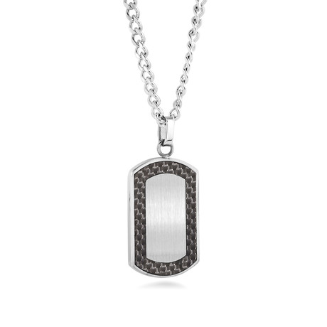 Racer Stainless Steel + Carbon Fiber Dog Tag Necklace // Silver