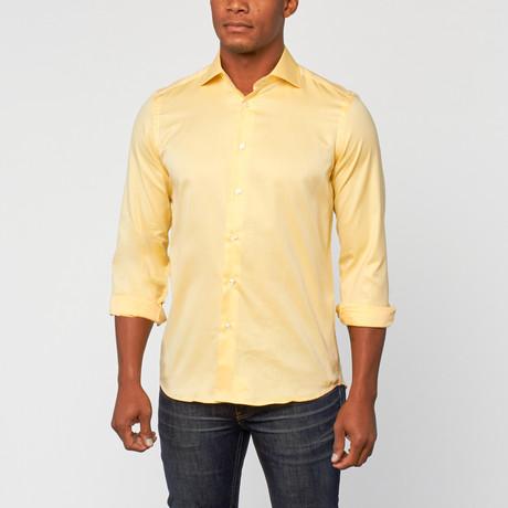 Cotton Slim Fit Shirt Dress // Yellow
