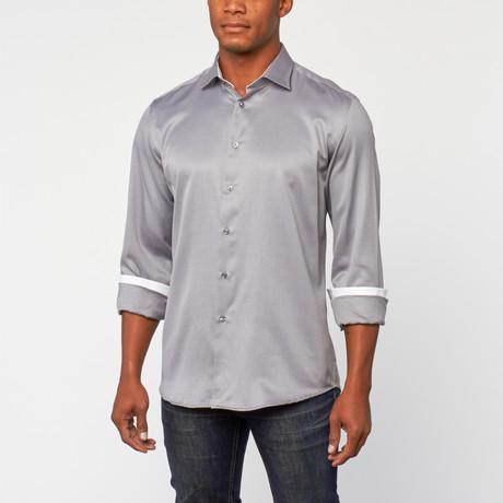 Cotton Slim Fit Shirt Dress // Silver