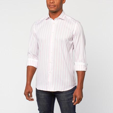 Cotton Slim Fit Dress Shirt // Wit Roze Streep