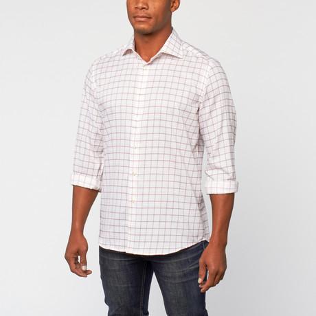 Cotton Slim Fit Dress Shirt // Wit Bourgondië Grid