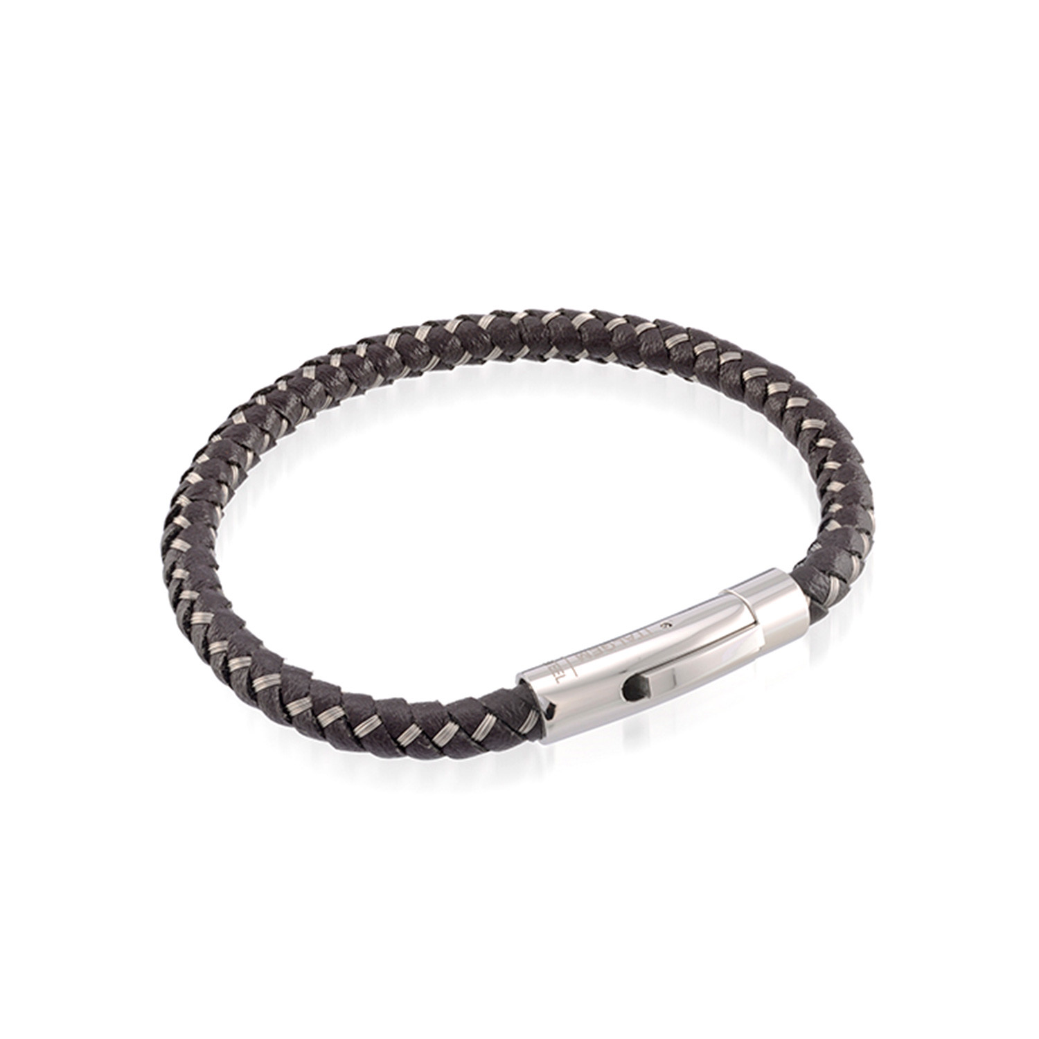brown leather stainless steel wire braided bracelet