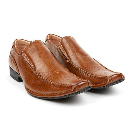 Lizard Texture Dress Loafer // Brown