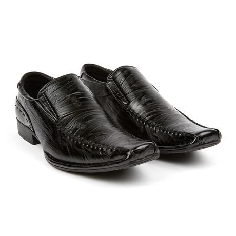 Lizard Texture Dress Loafer // Black