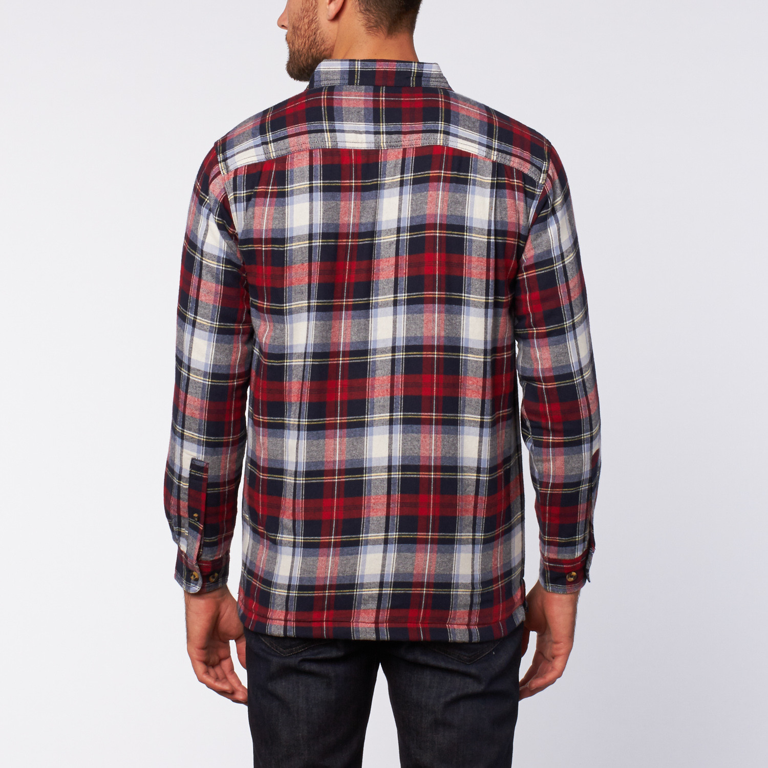 Flannel shirt jacket red navy s stanley touch for Flannel shirt and vest