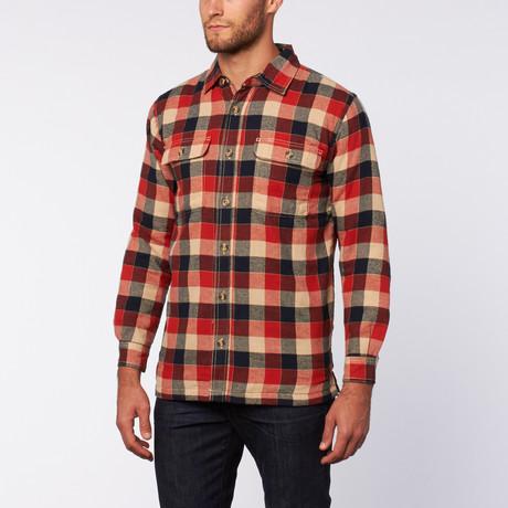 Flanellen Shirt Jacket // rood + blauw + Kaki Buff Plaid