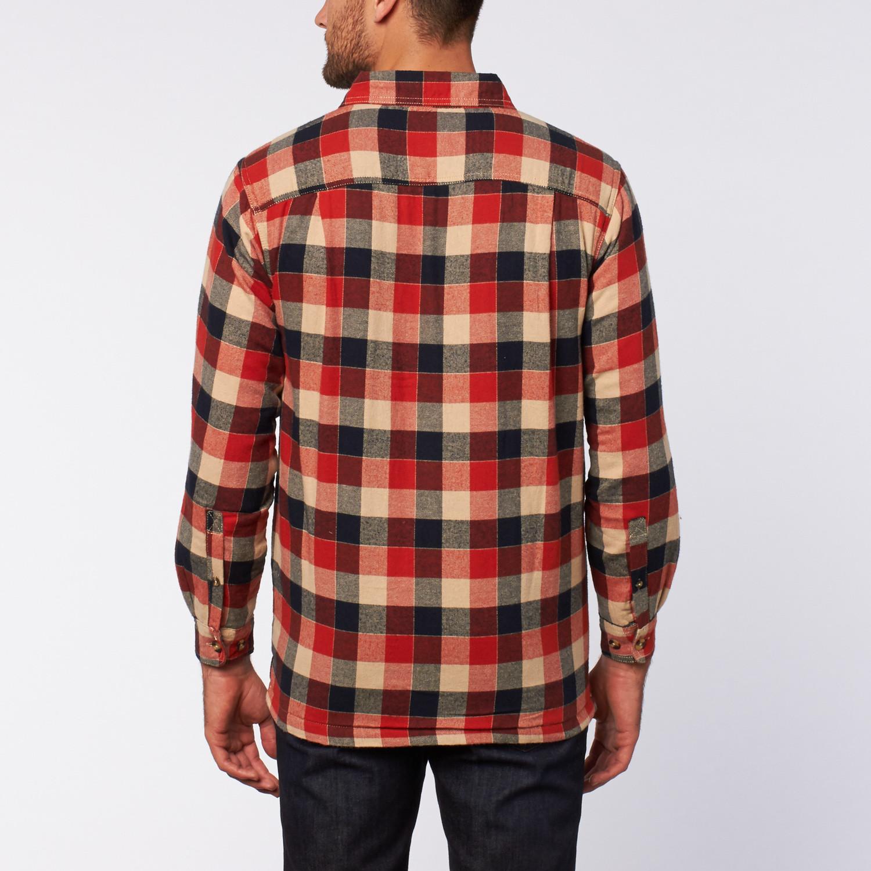 Flannel Shirt Jacket Red Blue Khaki Buff Plaid S