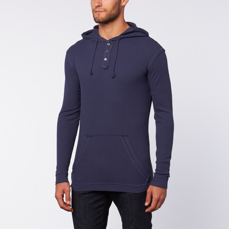 Washed Thermische Hoodie // Royal