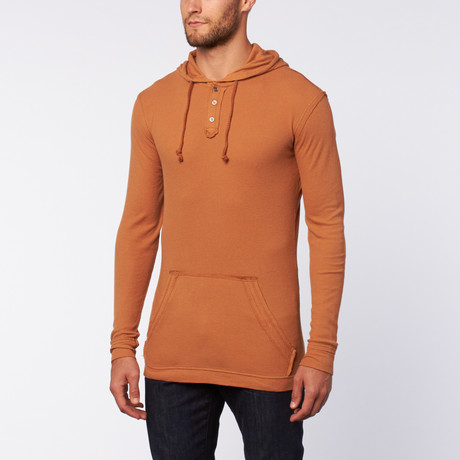 Washed Thermische Hoodie // Rust