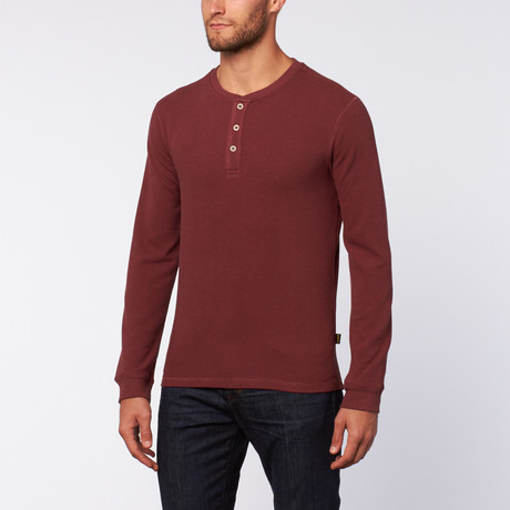 Thermal 3 Button Henley // Red Mahogany