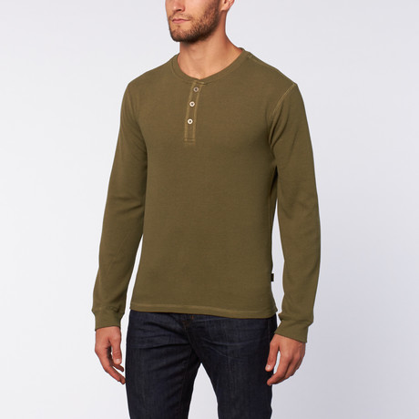 Thermal 3 Button Henley // Winter Moss