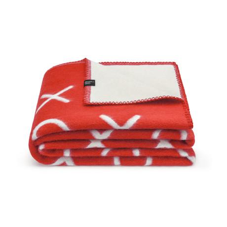 Xo Merino Wollen Deken // Red + White