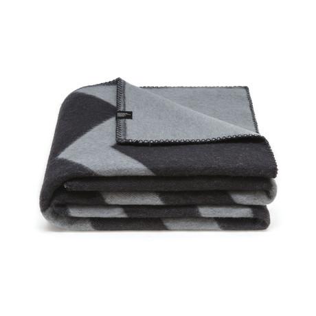 Sikksakk Merino Wollen Deken // Black + Grey