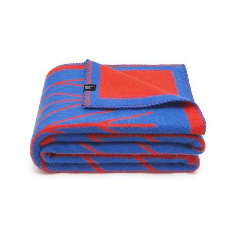 Bolge Merino Wollen Deken // Red + Blue
