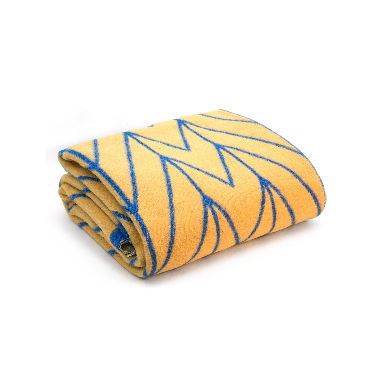 bolge merino wool blanket yellow blue