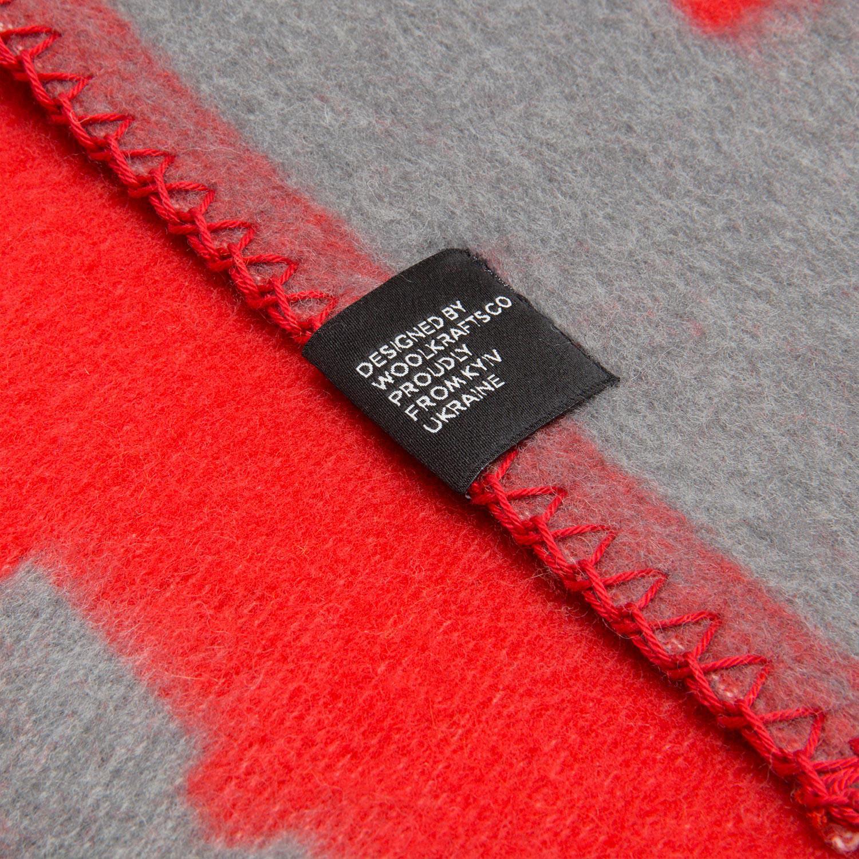sor merino wool blanket red grey