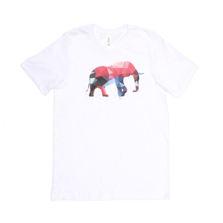 Lucky Polygon Elephant Tee // White