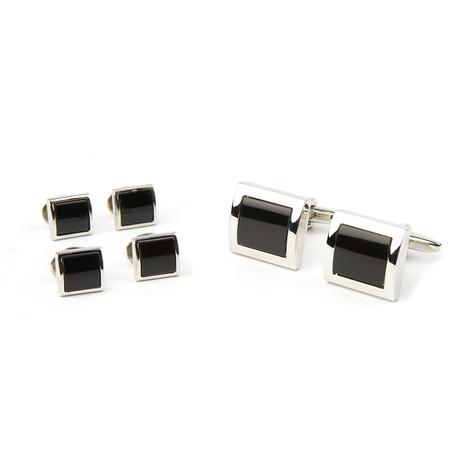 Vierkante Manchetknopen + Stud Set // Silver