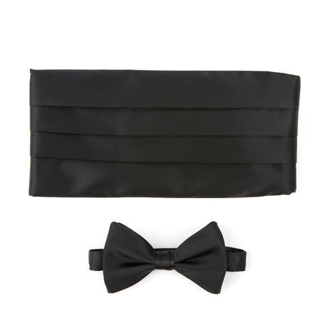 Silk Tie + Manchetknopen Set // Black