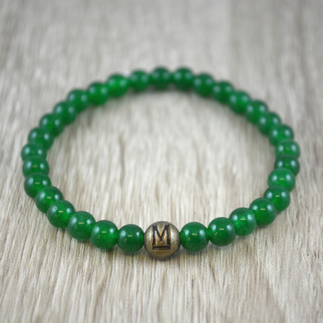 Gold Bead // Green Jade