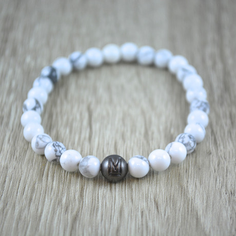 Silver Bead armband // White Howliet