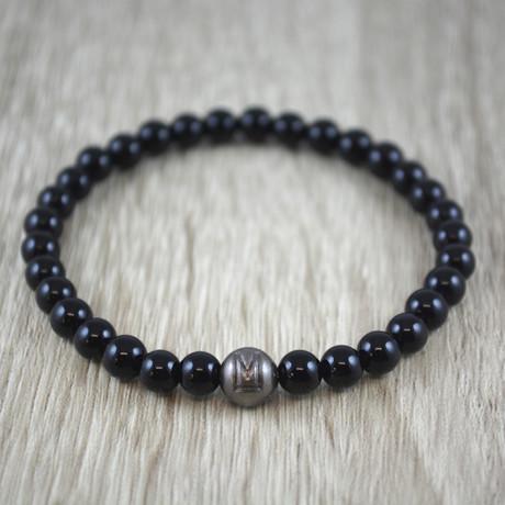Silver Bead armband // Black Onyx