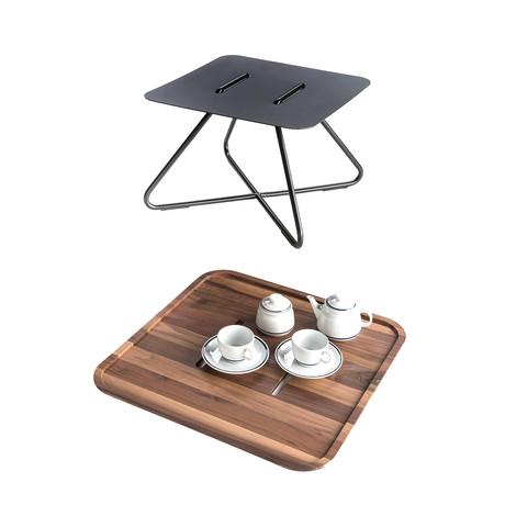 Levante Occasional Table // Black + Walnut