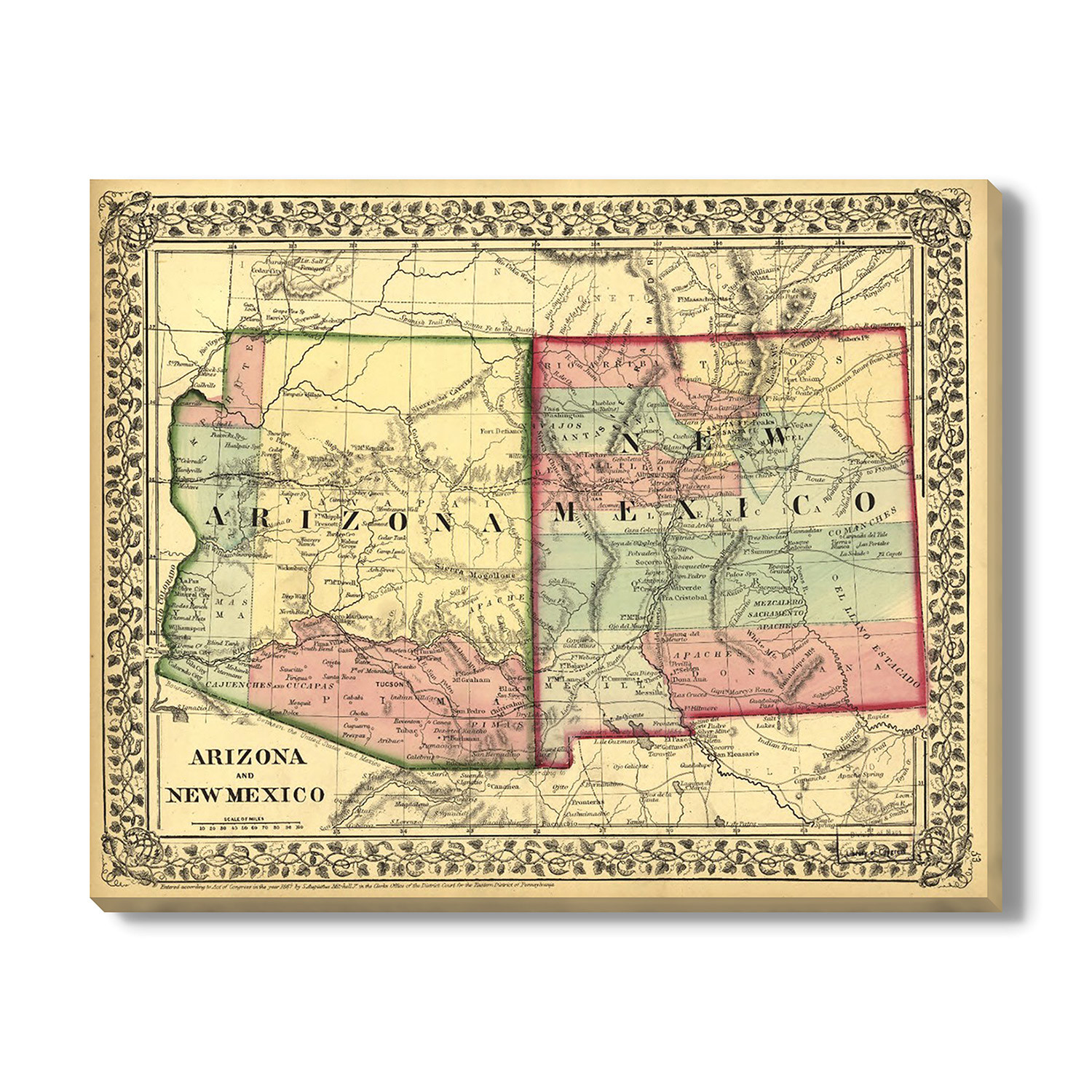 Map Of Arizona And New Mexico.Map Of Arizona New Mexico 1867 16 W X 13 H Vintage Maps