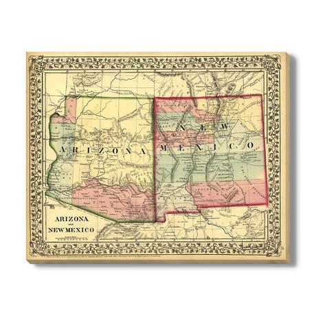 Kaart van Arizona + New Mexico // 1867