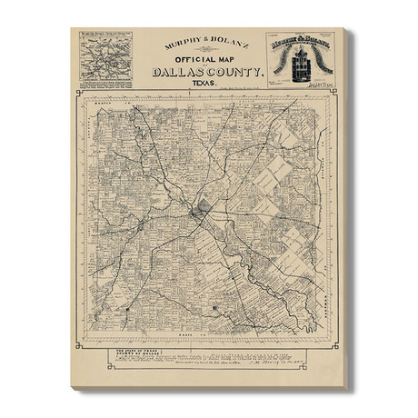 De officiële Kaart van de Provincie van Dallas // 1886