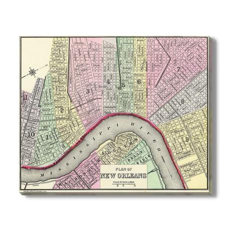 Kaart van New Orleans // 1888