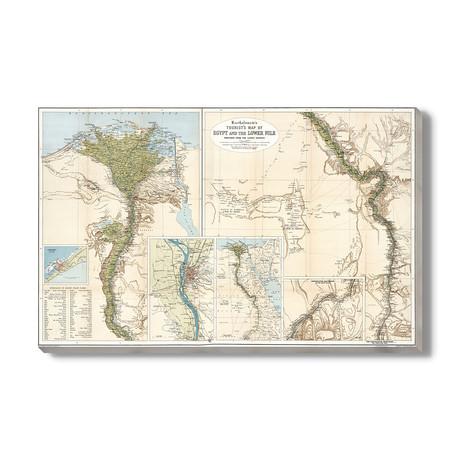 Bartholomew's Toeristische Kaart van Egypte + De Tweede Nijl // 1897